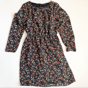 J Crew Factory Tulip-Hem Dress black floral size 2